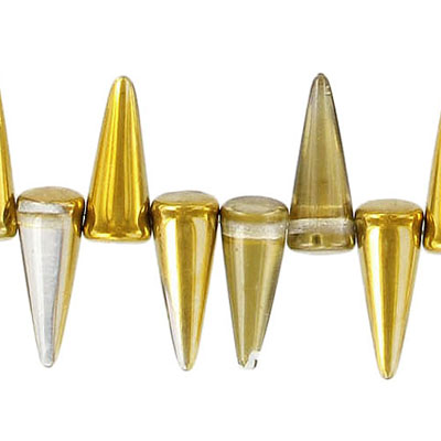 Glass spike beads, 17mm, 5 strands of 25 beads each, crystal amber