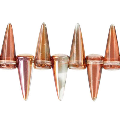 Glass spike beads, 17mm, 5 strands of 25 beads each, crystal sunset