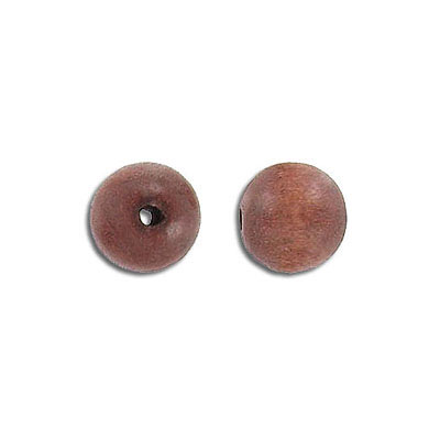 Wood bead, round, brown, 10mm, 16 inch strand