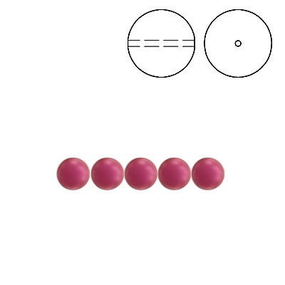 Swarovski pearls 5810, drilled, 4mm size, crystal mulberry pink