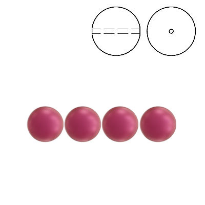 Swarovski pearls 5810, drilled, 6mm size, crystal mulberry pink