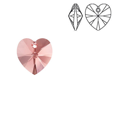 Crystal Swarovski 6228 (6202), Xilion Heart Pendant. Rose Peach color. 10x10mm size.