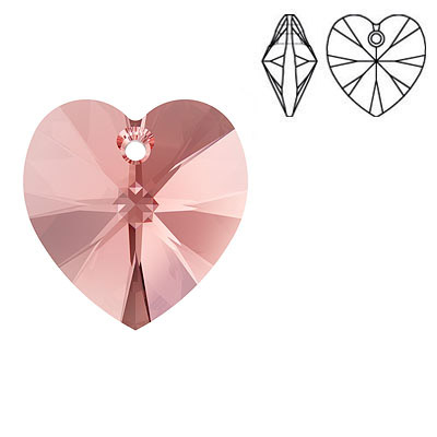 Crystal Swarovski 6228 (6202), Xilion Heart Pendant. Rose Peach color. 18x17mm size.