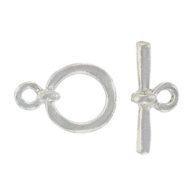 Toggle clasp, silver plate