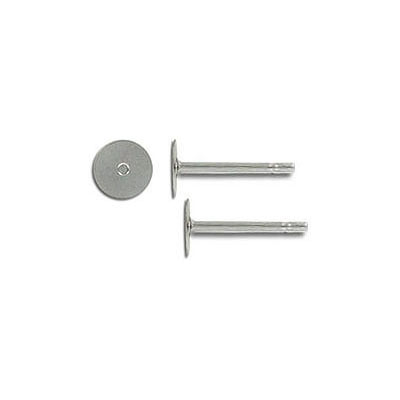Ear post stainless steel with 5mm flat pad. Grade 304L