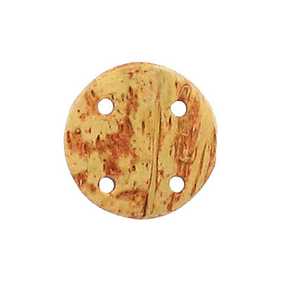 Coconut disk pendant, 20mm, 4-hole, 25 pieces per pack