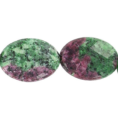 Semi-precious faceted beads, 25x18mm, oval, ruby zoisite, 16 inch strand
