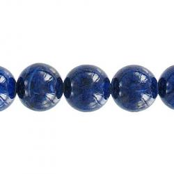 Fossil bead, 36 inch strand, blue, 10mm