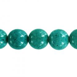 Fossil bead, 36 inch strand, turquoise, 10mm