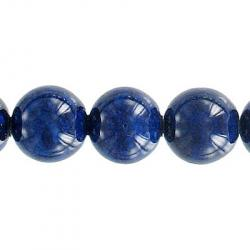 Fossil bead, 36 inch strand, blue, 12mm