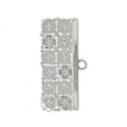 Connector 6-row, 30x12mm, silver plate