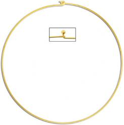 Necklace, choker wire with ball and hook ends, 15 cm (5.5 inches) diameter, gold plate