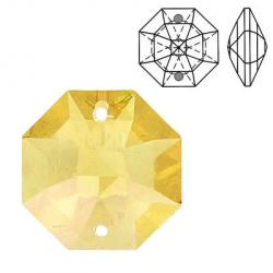 Crystal Swarovski 8116, Octagon Lily Pendant-Chandelier (two holes). Topaz color. 20mm size.