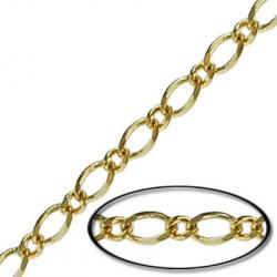 Soldered chain curb link (3mm wide) 20 metres gold plate