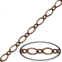Chain figaro curb link 20 metres antique copper