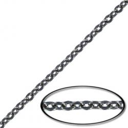 Chain cable flattened link (2.5 mm wide) 20 metres black nickel plated