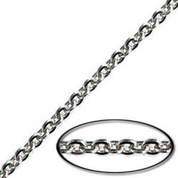 Soldered chain cable flattened link (2mm wide) 20 metres nickel plate