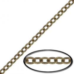 Soldered chain cable link (3.5mm wide) 20 metres antique brass plate