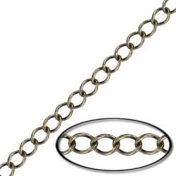 Chain curb link (3.5 mm wide) 20 metres antique brass