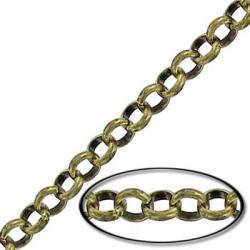 Chain rolo link (4.5mm) 10 metres antique brass
