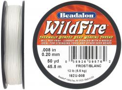 Beading thread thermally bonded .008 inch (0.20mm) 50 yards (45.8 meters), frosted white