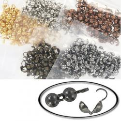 Bead tip mix (black nickel, gold plate, antique brass, antique copper, white)