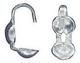 Sterling silver bead tip bottom clamp on with hook large .925
