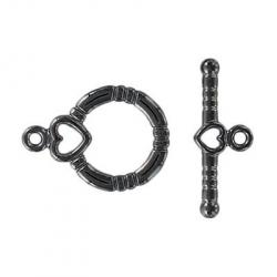Toggle clasp fancy (circle 18x13mm) black nickel plate nkf
