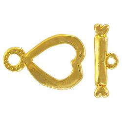 Toggle clasp large heart (heart 33x22mm) gold plate