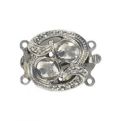 Fancy clasp 2 row 22x17mm (round setting 6mm) nickel plate