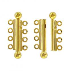 Slide lock tube clasp 4 row 32x13mm gold plate nkf