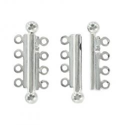 Slide lock tube clasp 4 row 32x13mm silver plate nkf