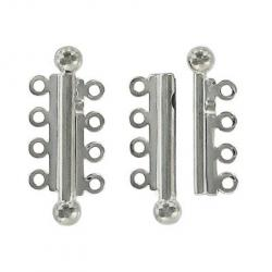 Slide lock tube clasp 4 row 32x13mm nickel plate nkf