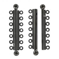Slide lock tube clasp 7 row 47x13mm black nickel plate