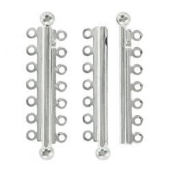 Slide lock tube clasp 7 row 47x13mm silver plate nkf