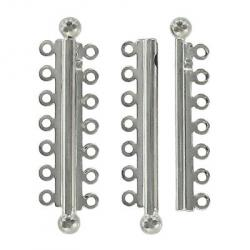Slide lock tube clasp 7 row 47x13mm nickel plate nkf