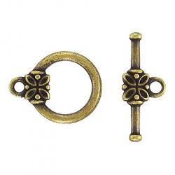Toggle clasp fancy (circle 18x14mm) antique brass plate nkf