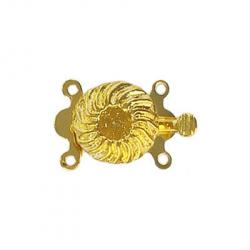 Fancy clasp 2 row 20x11mm (round setting 4 - 5mm) gold plate