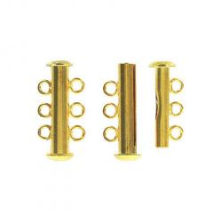 Slide lock tube clasp 3 row 22x11mm gold plate