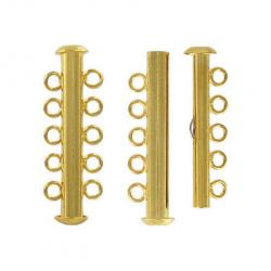 Slide lock tube clasp 5 row gold plate
