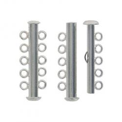 Slide lock tube clasp 5 row nickel