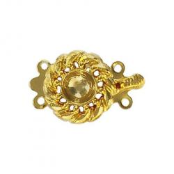 Fancy clasp 2 row 22x14mm (round setting 6mm) gold plate