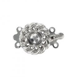 Fancy clasp 2 row 22x14mm (round setting 6mm) nickel plate