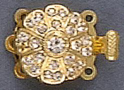 Clasp 3 row crystal/gold plate