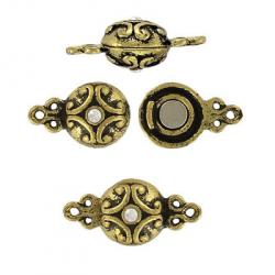 Magnetic clasp antique brass crystal