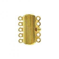 Fancy clasp 5 row 15x20mm gold plate