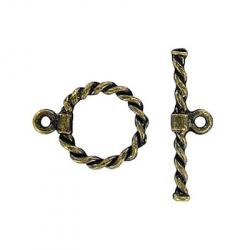 Toggle clasp fancy twist(circle 19x15mm) antique brass plate