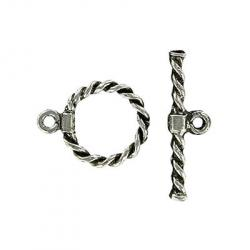 Toggle clasp fancy twist (circle 19x15mm), pewter