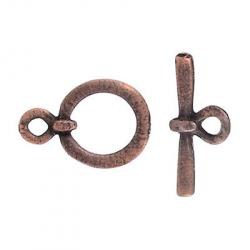 Toggle clasp (circle 22x15mm) antique copper plate