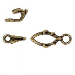 Toggle clasp (circle 25x11mm) antique brass plate
